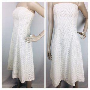 Vintage 90's 100% Cotton Eyelet Strapless Dress